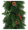 Christmas Garland with Mistletoe, Red Berries and Pine Cones Green