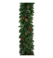 Christmas Garland with Mistletoe, Red Berries and Pine Cones - Green