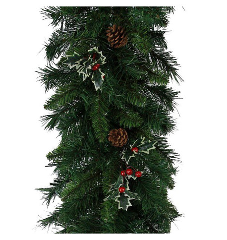 Christmas Garland with Holly and Pine Cones Green
