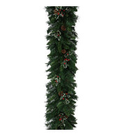 Christmas Garland with Holly and Pine Cones - Green
