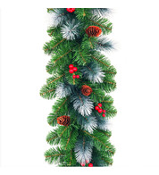 Frosted Garland with Plain Pine Cones and Berries  - Green