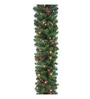 Pre Lit Pine and Berry Christmas Garland - Green