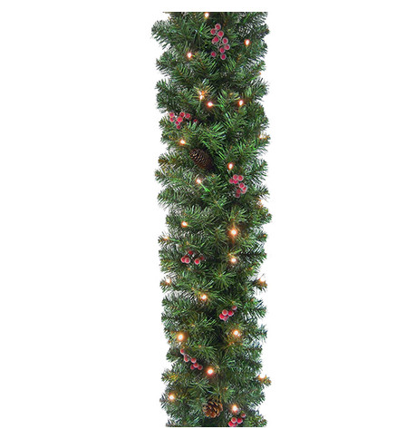 Pre Lit Pine and Berry Christmas Garland Green