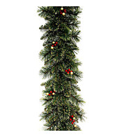 Deluxe Christmas Garland with Gold Glitter Foliage, Red and Gold Berries - Green