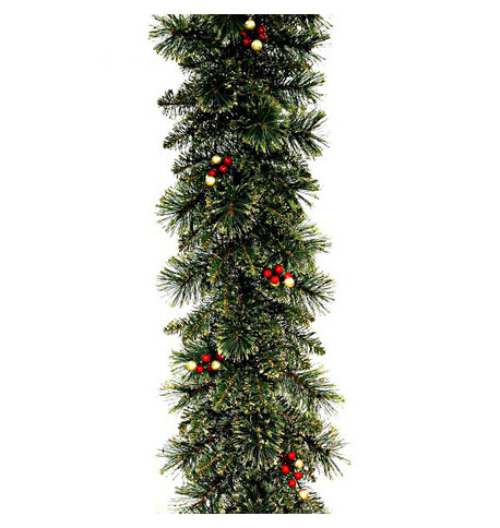 Deluxe Christmas Garland with Gold Glitter Foliage, Red and Gold Berries Green