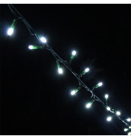 Outdoor String Lights - Pro Series Static Ice White on Green Cable Ice White on Green Cable