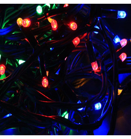 Outdoor String Lights - Pro Series Static Multicolour on Green Cable Multicolour On Green Cable