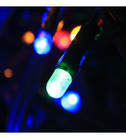 Outdoor String Lights - Pro Series Static Multicolour on Green Cable - Multicolour