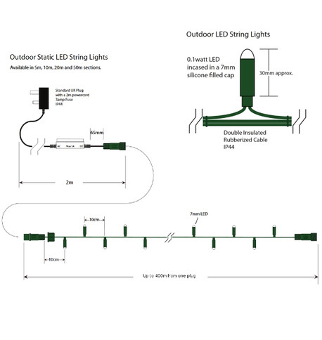 Outdoor String Lights - Pro Series Static Blue on Green Cable Blue on Green Cable