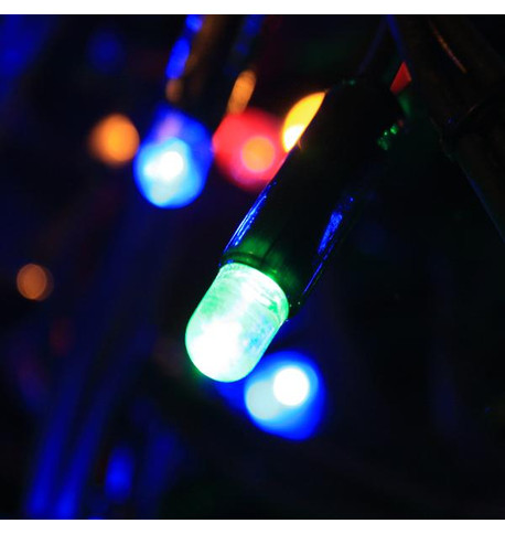 Outdoor String Lights - Pro Series Flashing Multicolour on Green Cable Multicolour On Green Cable