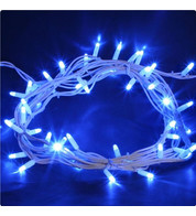 Outdoor String Lights - Pro Series Static Blue on White Cable - Blue