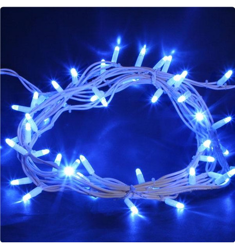 Outdoor String Lights - Pro Series Static Blue on White Cable Blue on White Cable