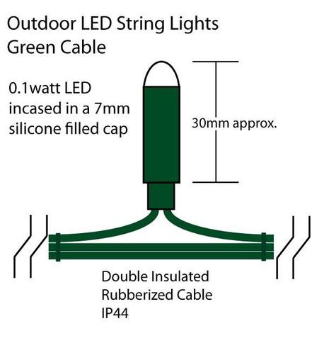 Outdoor String Lights - Pro Series Multifunction Ice White on Green Cable Ice White on Green Cable