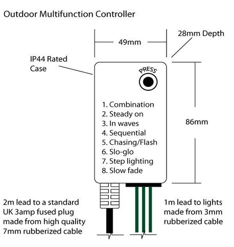 Outdoor String Lights - Pro Series Multifunction Multicolour Lights on Green Cable Multicolour On Green Cable