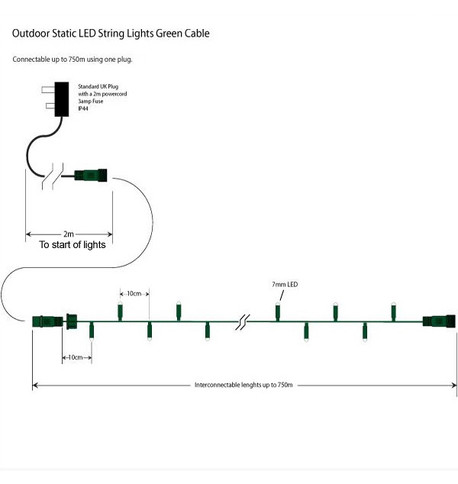 Outdoor String Lights - Pro Series Multifunction Warm White on Green Cable Warm White On Green Cable