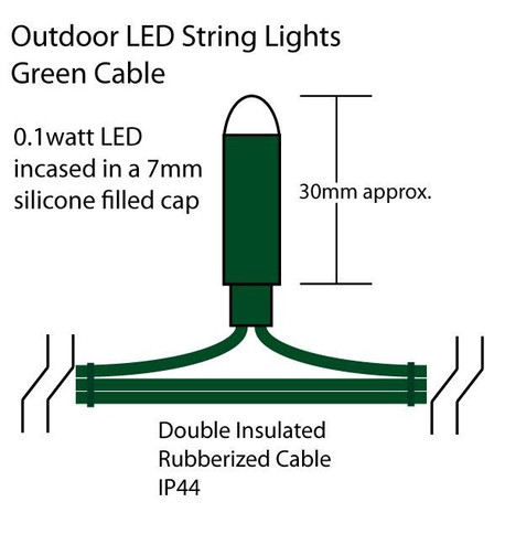 Outdoor String Lights - Pro Series Sparkling Ice White on Green Cable Ice White on Green Cable