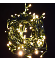 Outdoor String Lights - Pro Series Sparkling Warm White on Green Cable - Warm White
