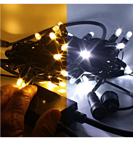 Outdoor String Lights - Pro Series One Click Colour Switch on Green Cable DUAL (Ice White/Warm White) on Green Cable