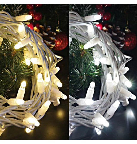 Outdoor String Lights - Pro Series One Click Colour Switch on White Cable DUAL (Ice White/Warm White) on White Cable