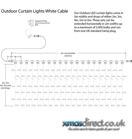 Pro Series Outdoor Curtain Lights - Static Blue on Green Cable Blue on Green Cable