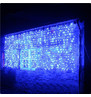 Pro Series Outdoor Curtain Lights - Static Blue on White Cable Blue on White Cable