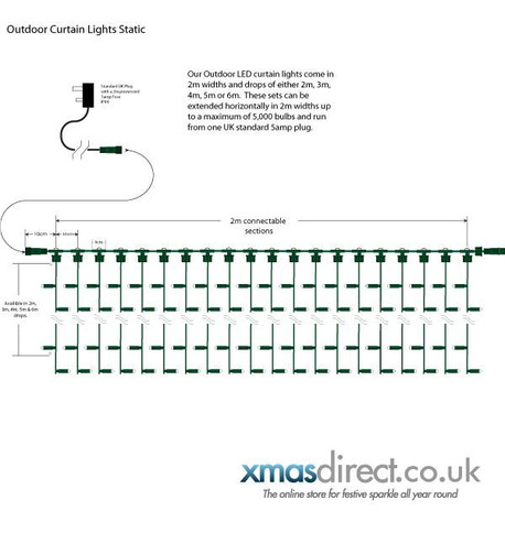 Pro Series Outdoor Curtain Lights - Static Ice White on Green Cable Ice White on Green Cable