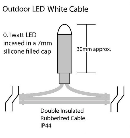Pro Series Outdoor Curtain Lights - Static Ice White on White Cable Ice White on White Cable
