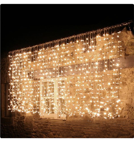 Pro Series Outdoor Curtain Lights - Static Warm White on Green Cable Warm White On Green Cable
