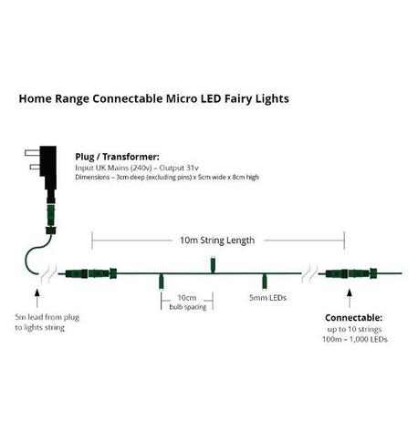 Elements Connectable Low Voltage Micro LEDs - Ice White on Green Cable Ice White on Green Cable