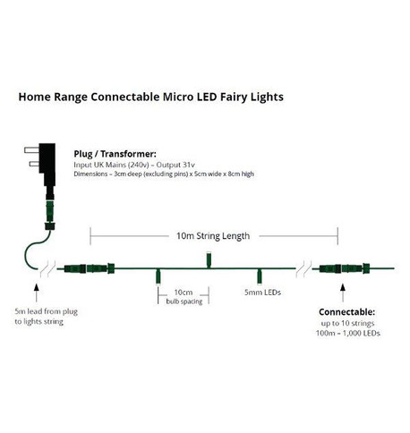 Home Range Connectable Low Voltage Micro LEDs - Multicolour on Green Cable Multicolour On Green Cable