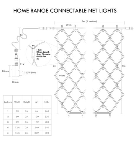 Home Range Net Lights - Ice White on Green Cable Ice White on Green Cable