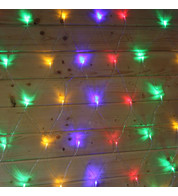 Elements Range Net Lights - Multicoloured on Clear Cable - Multicolour