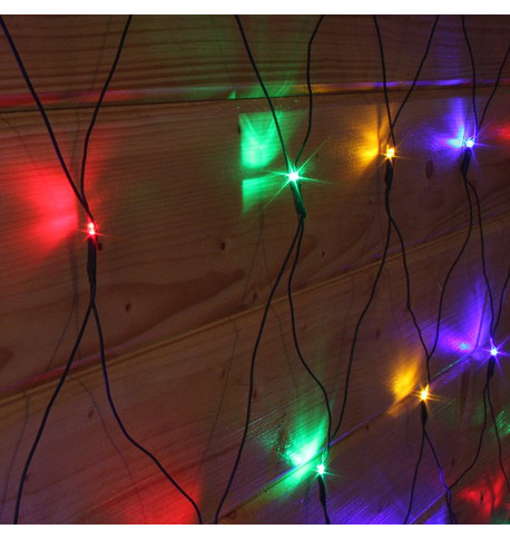 Elements Range Net Lights - Multicoloured on Green Cable Multicolour On Green Cable