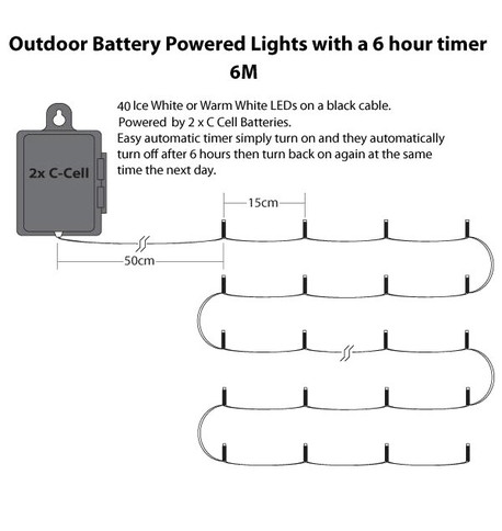 Outdoor Waterproof Battery Operated Lights with Timer Warm White - Black Flex