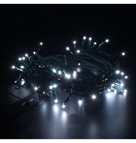 Indoor Battery Powered Fairy Lights - Static Ice White on Green Cable Ice White on Green Cable