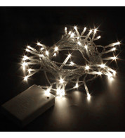 Indoor Battery Powered Fairy Lights Static - Ice White on White Cable