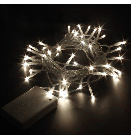 Indoor Battery Powered Fairy Lights Static Ice White on White Cable