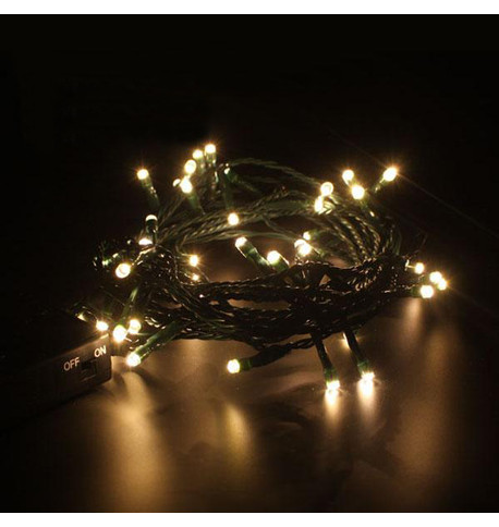 Indoor Battery Powered Fairy Lights - Static Warm White on Green Cable Warm White On Green Cable
