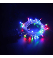 Indoor Battery Powered Fairy Lights - Static Multicoloured on Clear Cable - Multicolour