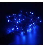 Indoor Battery Powered Fairy Lights (Multifunction) - Blue on Green Cable - Blue