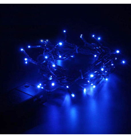 Indoor Battery Powered Fairy Lights (Multifunction) - Blue on Green Cable Blue on Green Cable
