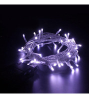 Indoor Battery Powered Fairy Lights Multifunction - Ice White on Clear Cable - Ice white