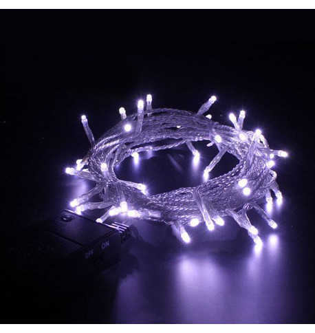 Indoor Battery Powered Fairy Lights Multifunction - Ice White on Clear Cable Ice White On Clear