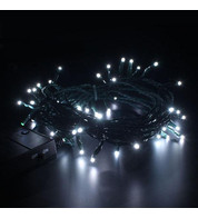 Indoor Battery Powered Fairy Lights Multifunction - Ice White on Green Cable - Ice White on Green Cable