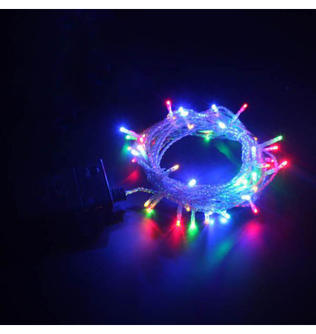 Indoor Battery Powered Fairy Lights Multifunction - Multicoloured on Clear Cable Multi on Clear