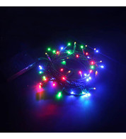 Indoor Battery Powered Fairy Lights Multifunction - Multicoloured on Green Cable - Multicolour