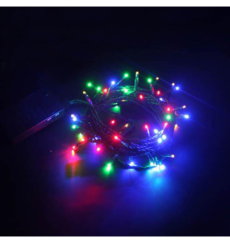 Indoor Battery Powered Fairy Lights Multifunction - Multicoloured on Green Cable Multicolour On Green Cable