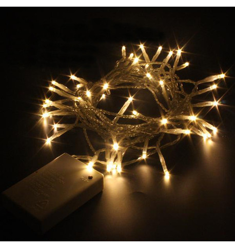 Indoor Battery Powered Fairy Lights Static with Timer - Warm White on Clear Cable Warm White on Clear Cable