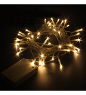 Indoor Battery Powered Fairy Lights Multifunction - Warm White on Clear Cable - Warm White