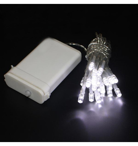Outdoor Battery Operated Christmas Lights Ice White On Clear